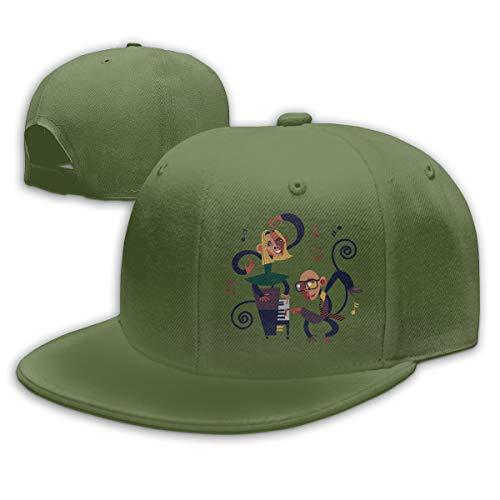 - Shenigon Anime Music Flat Visor Baseball Cap, Designed Snapback Hat Moss Green