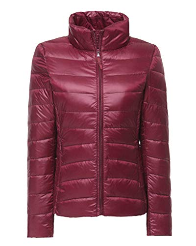 Coat Weight Light Short Women's Down Lightweight Red Winter Jacket Packable Wine ZiXing Ultra Outdoor XwP4ABq