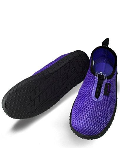 Wave Runner Quick Dry Wasserschuhe Aqua Socken Barfuß Slip-On mit Reißverschluss für Männer Frauen & Kinder Lila