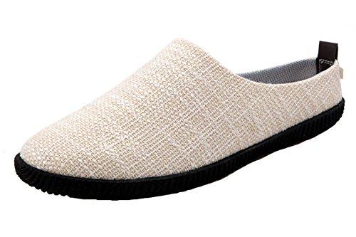 Santimon Man Kvinna Anti-slip Mulor Tofflor Andningsbar Fabric Ljusgymnastikskor Stängd Tå Loafers Beige