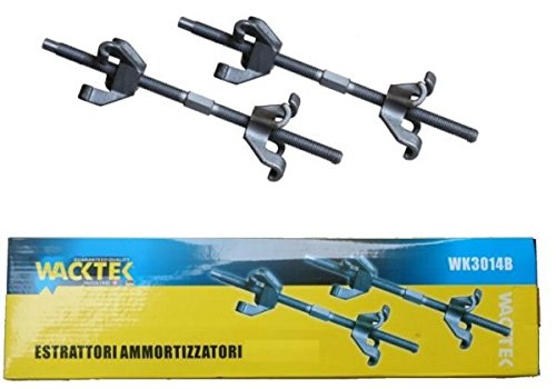 SET 2 TOOLS A 4 GANCI PER COMPRESSIONE E SMONTAGGIO MOLLE AMMORTIZZATORI 380 mm WACKTEK