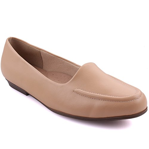 "Price comparison product image Unze Women ""Gaelle"" Casual Office Designed Slip On Moccasins UK Size 3-8 Beige"