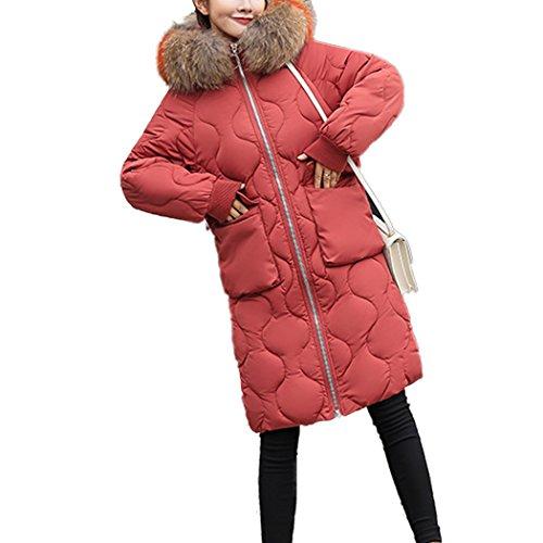 en Coton Grande Longue avec de Coton Chaud Duvet Hiver Rouge Fourrure Doudoune Taille Rouille HANMAX Femme Capuche de Manteau fwByxZq6BP