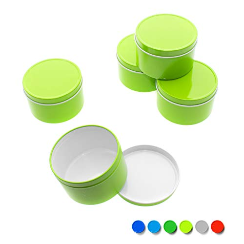Mimi Pack 2 oz Deep Round Tin Solid Slip Top Lid For Salves, Favors, Spices, Balms, Candles, Gifts Limited Run Series 24 Pack (Lime Green)
