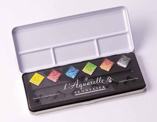 Sennelier l'Aquarelle French Artists' Watercolor Metal Case...