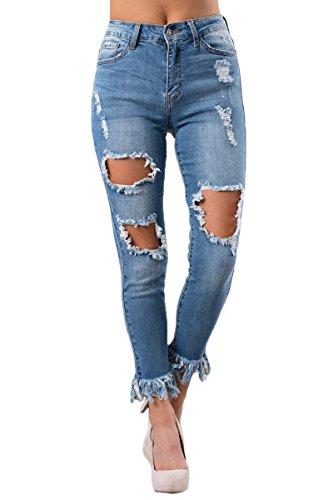 Skinny en Denim BaronHong Vieilli Whisker Pantalon Blau Blue fq47w7