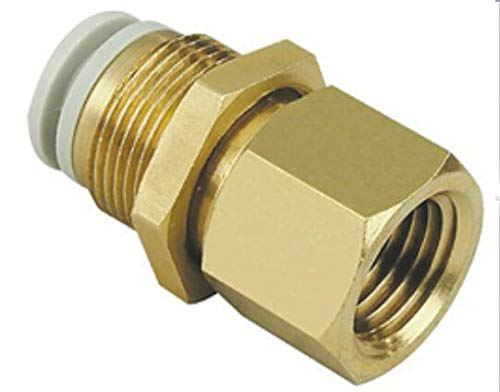Fevas Tube 4mm-1//8 PT Thread Pneumatic Bulkhead Fitting