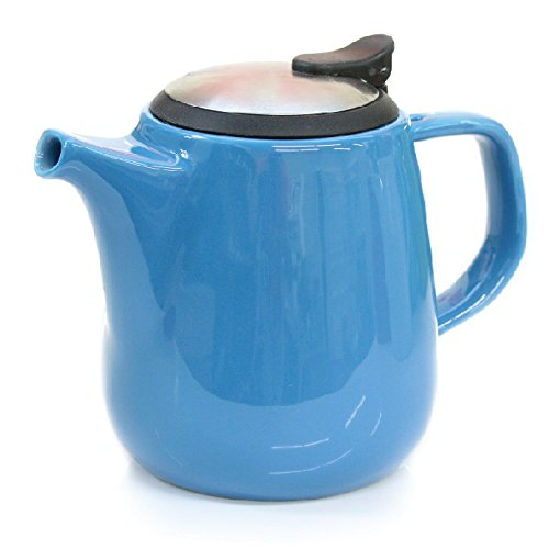 Tealyra Daze Ceramic Teapot with Stainless Steel Lid and Infuser, 700ml / 24 oz - Blue