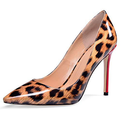 (YODEKS Women's Pointed Toe Patent Leather Pumps High Heel Animal Print Shoes Leopard US12)