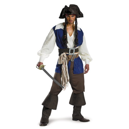 Disguise Unisex Adult Deluxe Teen Captain Jack Sparrow, Multi, Medium (38-40) Costume - Deluxe Adult Captain Jack Sparrow Costumes