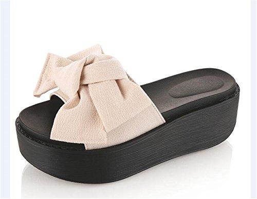Slippers Sandals Beige Sandals Flops 39 Big Woman Size Slip Flip Beach Resistant Jwhui Bowtie 34 Platform Summer v0T04w