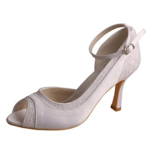 Wedopus MW396 D'orsay Open Toe Lace and Satin High Heel Ankle Strap Wedding Shoes Bridal Size 6 White (Toe Dorsay Open)