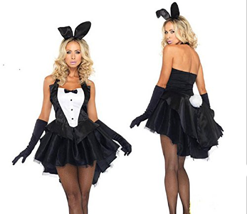 Female Bunny Costumes (Stuffwholesale Women Girl Cosplay Costume Dress Bunny Tux Tail with Ear Headband, Small Size)