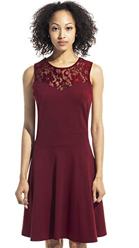 Sylvestidoso Women's A-Line Sleeveless Pleated Little Wine Red Cocktail Party Dress with Floral Lace (S, Wine Red) ()