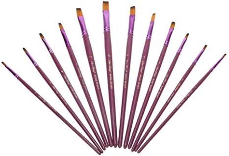 水彩 ブラシパープル絵画12個はフラットアートペイントブラシセット水彩ナイロンヘアオイルドローイングペンのために油絵を指摘しました ブラシアク (Color : FLAT)