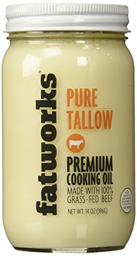 Fatworks Premium Grass Fed Pasture Raised Beef Tallow, Artisanally Rendered, 14 oz. (Organic Orchard Grass)