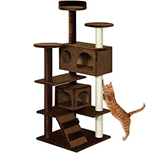 Best Choice Products 53in Multi-Level Cat Tree Scratcher Condo Tower - Brown