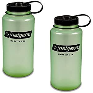 Nalgene Everyday Triton Wide Mouth 32oz Bottle - 2 Pack (Glow in the Dark Green)