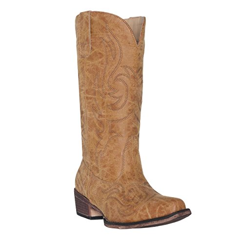Women's Western Cowgirl Cowboy Boot   Brown Reno Square Snip Toe by Silver ()
