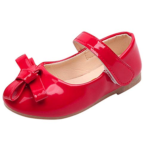 Children Kids Girls Bowknot Princess Shoe,Baby Casual Sneaker Soft Single Shoes (Red, 7.5 M US)