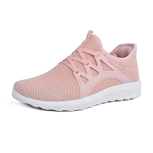 Feetmat Women's Walking Shoes Lace up Ultra Lightweight Breathable Mesh Athletic Running Sneakers Pink Size 9 M US