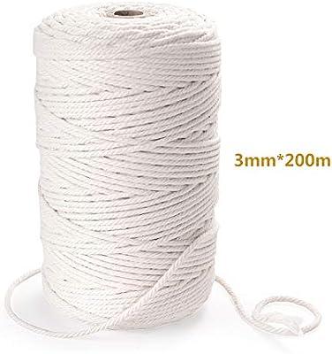 KATELUO Cuerda algodón, algodón Natural de 3 mm x 200 m para macramé, utilizado para manualidades decorativas, tapices, plantas, perchas DIY macramé hecho a mano, etc. (3mm*200m): Amazon.es: Hogar