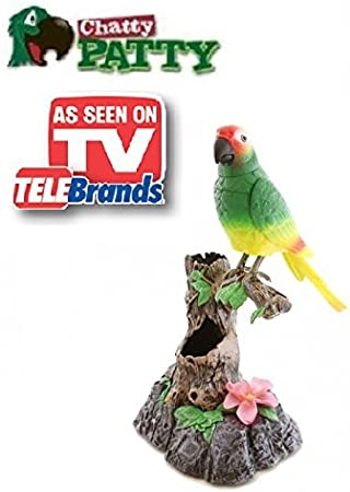 Chatty Patty - Electronic Talking Repeating Parrot Parakeet Bird - As Seen on TV
