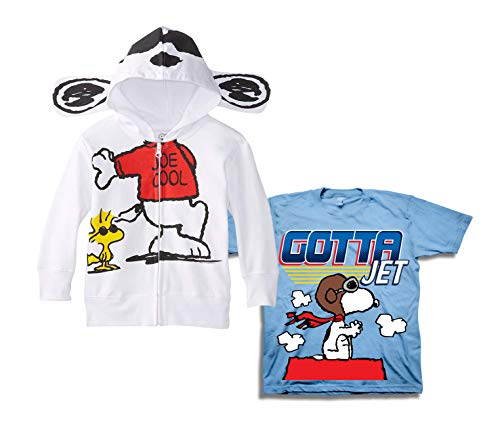 Snoopy Peanuts Hoodie Shirt Set - 2 Pack of Classic Peanuts Hoodie and Tee and Charlie Brown (White/Blue, 3T) -