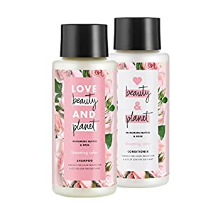 Love Beauty And Planet Blooming Color Shampoo and Conditioner, Murumuru Butter, Sugar & Rose, 13.5 oz, 2 ct