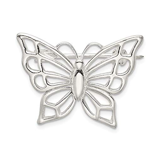 925 Sterling Silver Butterfly Pin Fine Jewelry Gifts For Women For ()