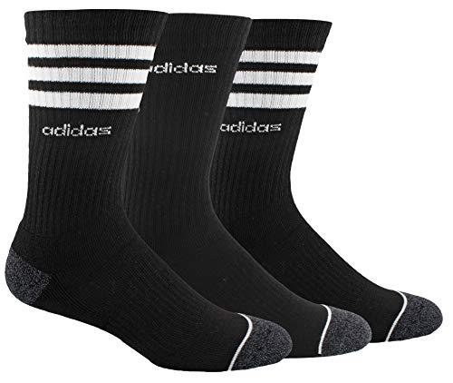 adidas Men's 3-Stripe Crew Sock (3-Pair), Black/White/Black - Onix Marl, Large, (Shoe Size 6-12)