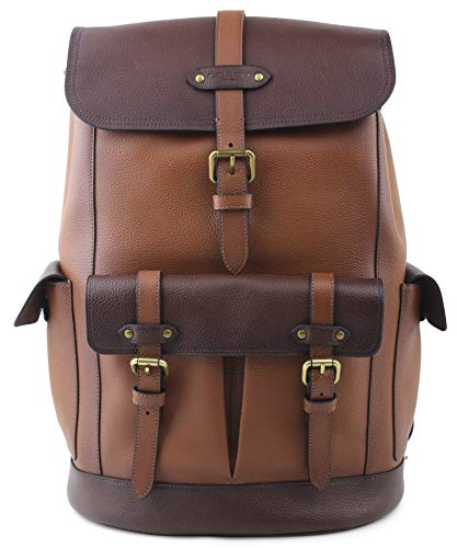 Coach Men's Hudson Dark Brown Multi Antique Brass Pebbled Leather Backpack, Style F49543 ()