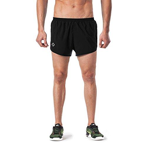 Naviskin Men's Lightweight Quick Dry Running Shorts Training Pace Shorts Black Size M (Running Shorts Split)
