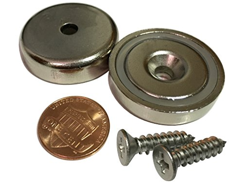 "Nexlevl Extreme Power Rare Earth Magnets, 2 Industrial Strength Round Base Neodymium Magnets, 88lb+ Holding Force, 1.26"" Diameter, Countersunk Hole for #10 Bolt, Super Corrosion Resistant"