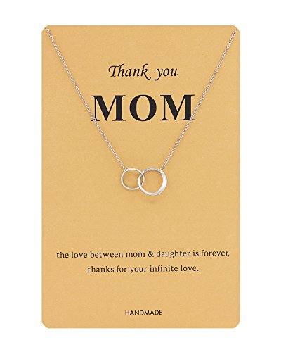 Zealmer Double Circle Rings Necklace Silver Double Links Pendant Thank You Mom Thanksgiving Gift Card