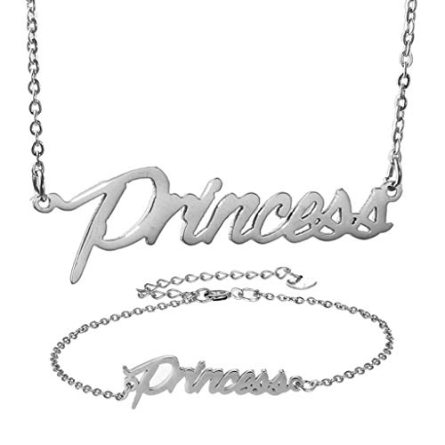 (AIJIAO Personalized Name Necklace + Name Bracelet Sets for Women Nameplate Pendant Gift -Princess Silver Set)