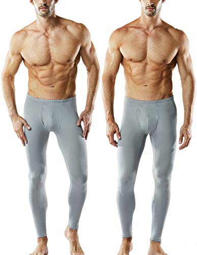 TSLA Men's 2 Pack Thermal Microfiber Fleece Lined Bottom Underwear Long Johns Stretchy with Fly, Thermal Fly 2 Pack(mhb101) - Light Grey, Large ()