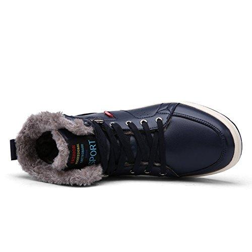 Cienti Stivali Da Neve Da Uomo Stringate Alla Caviglia Sneakers Alte Scarpe Invernali Con Fodera In Pelliccia 2-blu