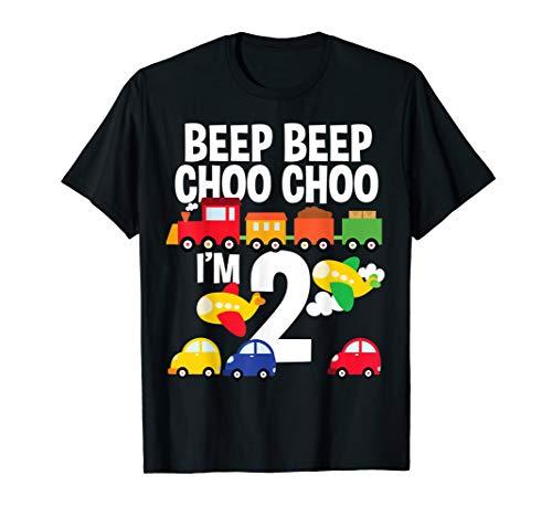 - I'm 2 Birthday Boy 2nd Bday Trains Cars Airplanes T-Shirt
