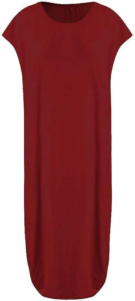 Forthery Womens Solid Print Long Dress Summer Loose Beach Swing Mini Dress Short Sleeve O Neck Dresses