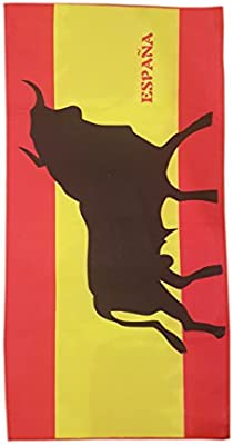 Toalla de Playa Estampada con la Bandera Española con Toro - Medidas 140 x 70 cm.: Amazon.es: Deportes y aire libre