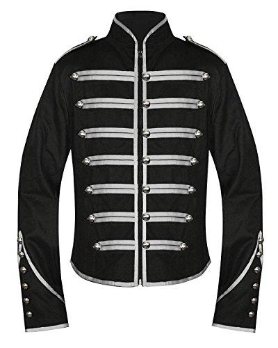 chaqueta Punk gótico la Hombres Band y Drummer Steampunk Parade Emo fangbanger única de Marching negro plateado Militar tOqZxZA5