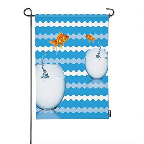 HGOD DESIGNS Goldfish Garden Flag,Abstract Goldfishes Jump in The Blue Wave Background Welcome Decorative Garden Flags Cotton Linen Waterproof for Garden Banner ()