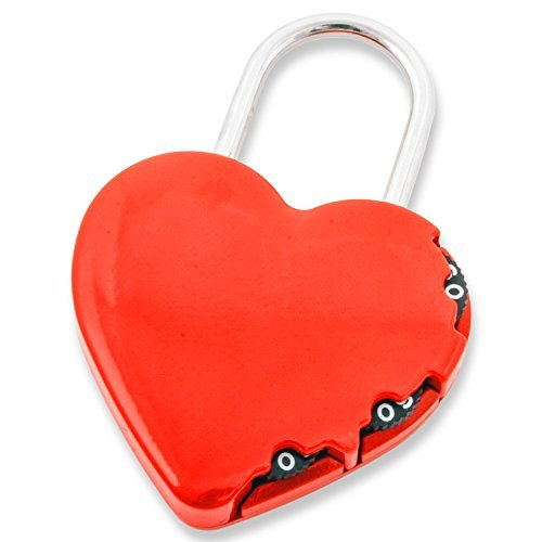 FJM Security SX-691 3 Dial Red Heart Combination Padlock - 4 Pack