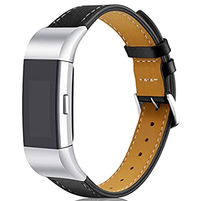 Dizywiee Band Compatible Fitbit Charge 2 Replacement Bands, Classic Genuine Leather Wristband Metal Connectors, Fitness Strap Women Men Small Large