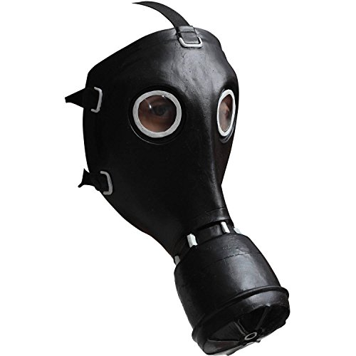 Fake Gas Masks (Halloween Gas Mask Black Latex Masks Adult Halloween Accessory Prop Fake Aspirator Cosplay Costume Face Mask With Straps Chemical Warface One Size Pack Of Two)