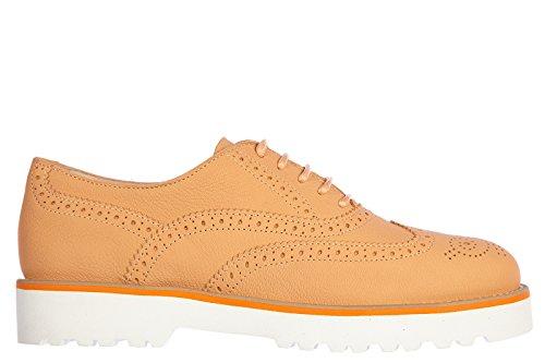 Hogan clásico zapatos de cordones mujer en piel nuevo h259 brogue route naranjan