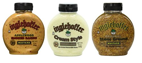 Inglehoffer Mustard 3 Flavor Variety Bundle: (1) Inglehoffer Original Stone Ground Mustard, (1) Inglehoffer Cream Style Horseradish, and (1) Inglehoffer Applewood Smoked Bacon Mustard, 9.5-10 Oz. Ea.