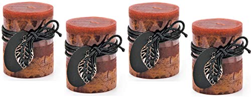 Unscented Decorative Brown Layered Pillar Candles - 3 x 4 Inches - Set of Four (4) - Features Black Cords & Silver Leaf Charms as Accents - Decorative Indoor Accent - Home Decor - Great as Gifts! ()