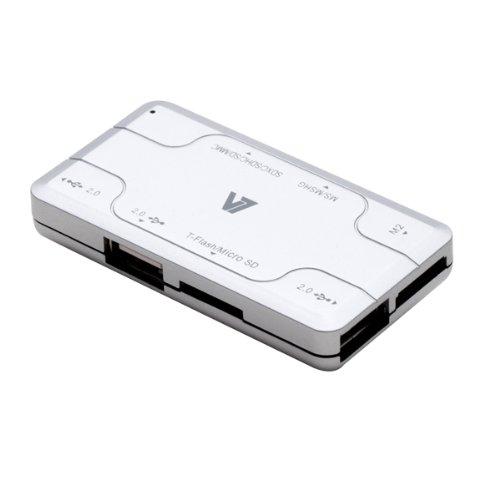 V7 Kartenleser Card Reader 12 in 1: 3x USB 2.0 und 9 versch. Datenkarten, silber, bis 480Mbps, für micro SD, SD, Mini SD, MMC, RS-MMC, MS, MS-PRO, MS Duo, M2